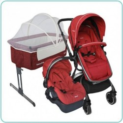 COMBO CUNA SIDE BY SIDE RED + COCHE TRAVEL SYSTEM 360 RED